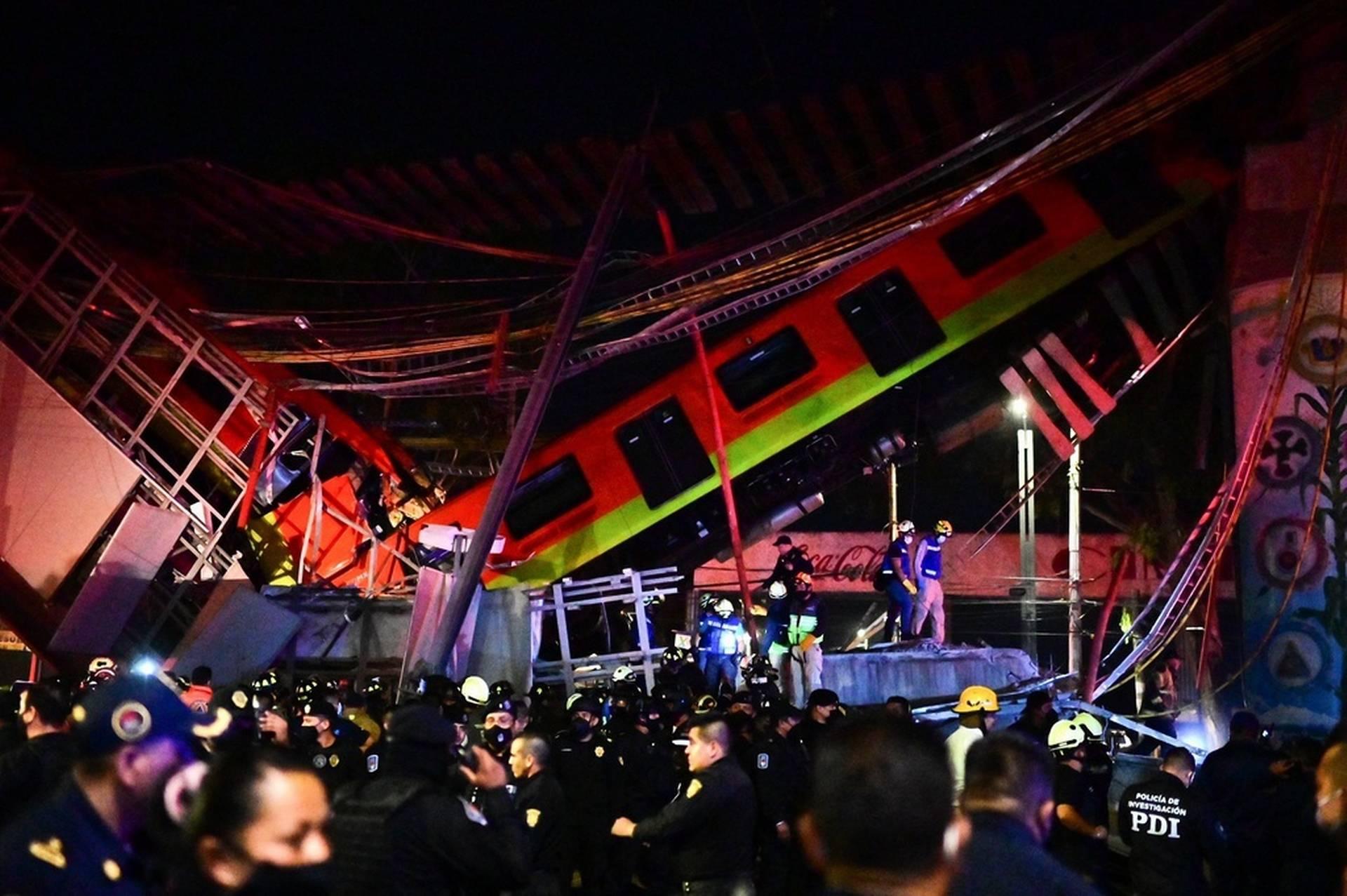 Subway trains crashed across the road – bridge collapsed